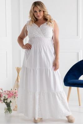 Sukienka długa z bawełny wstawki z ażuru ANET biała