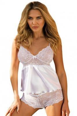 Dkaren Felicia Nocna komplet koszulka + szorty, biały