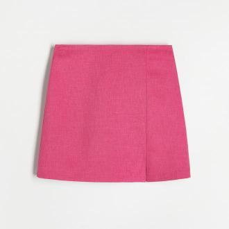 Reserved - Trapezowa spódnica mini - Różowy