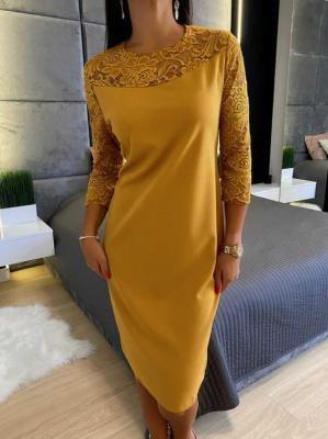 Musztardowa Sukienka z Koronką 6511-405-C