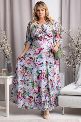 Sukienka długa kwiecista DRAGONA fioletowe liście i zielone kwiaty na błękitnym tle