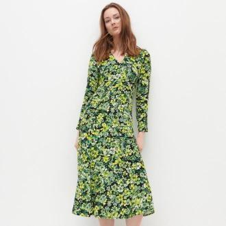 Reserved - Sukienka midi z EcoVero™ - Wielobarwny