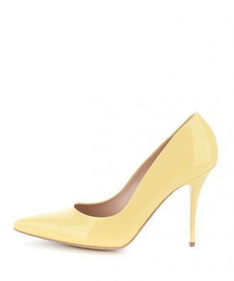 Żółte czółenka ze skóry lakierowanej VADENA
