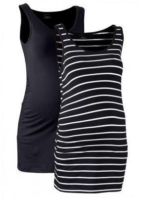 Top ciążowy (2 szt.) bonprix czarny +czarno-biały w paski