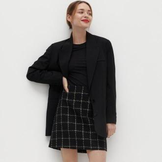 Reserved - Trapezowa spódnica w kratę - Czarny