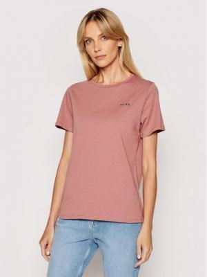 NA-KD T-Shirt Basic Logo 1044-000097-0176-003 Różowy Loose Fit