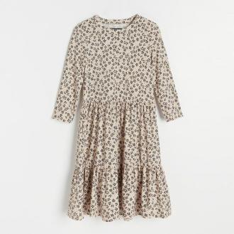 Reserved - Wzorzysta sukienka - Beżowy