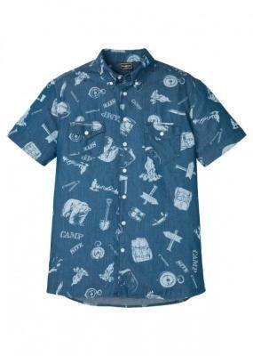 """Koszula dżinsowa z krótkim rękawem, Slim Fit bonprix niebieski """"stone"""" z nadrukiem"""