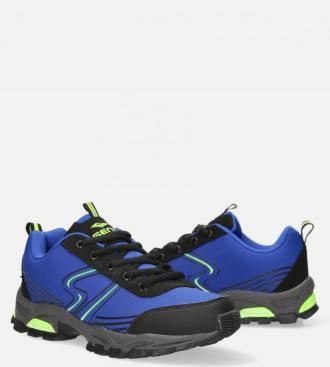 Niebieskie buty sportowe sznurowane softshell Casu B1808-4