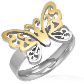 Stalowy pierścionek - wycięty złoto-srebrny motyl - Rozmiar : 57