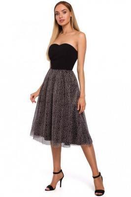 Czarna Sukienka Gorsetowa z Rozkloszowanym Dołem w Cętki