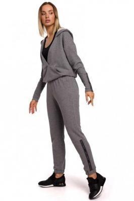 Dresowe Spodnie z Logowanym Lampasem - Szare