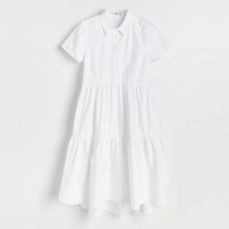 Reserved - Sukienka z bawełny organicznej - Biały