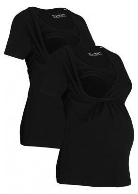 Shirt ciążowy i do karmienia (2 szt.) bonprix czarny + czarny
