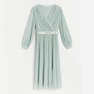 Reserved - Sukienka z lejącej dzianiny - Turkusowy