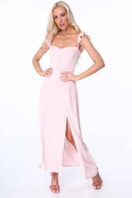 Sukienka maxi z guzikami jasnoróżowa ZZ337