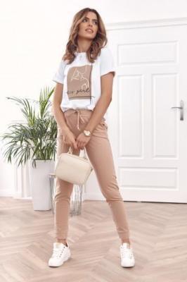 Letni dwukolorowy komplet z t-shirt i spodnie beżowy FK577