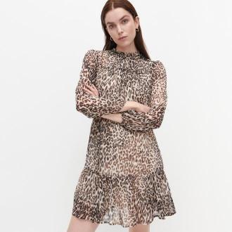 Reserved - Zwiewna sukienka ze zwierzęcym wzorem - Wielobarwny