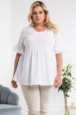Bluzka bawełniana ażurowa letnia odcinana pod biustem MATARA biała