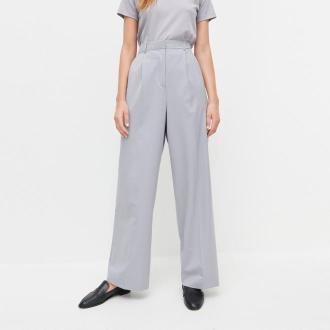 Reserved - PREMIUM Szerokie spodnie garniturowe z wełną - Jasny szary