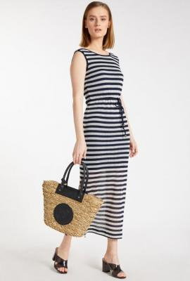Prążkowana, ażurowa sukienka