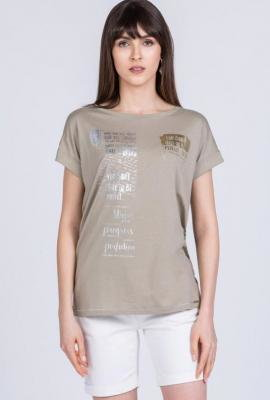 T-shirt z błyszczącymi napisami