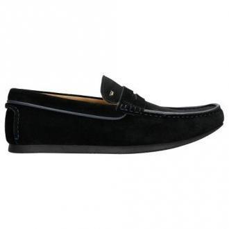 Wojas Czarne Penny Loafers Z Dwoiny Welurowej