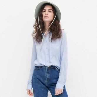Reserved - Gładka koszula z wiskozy - Niebieski