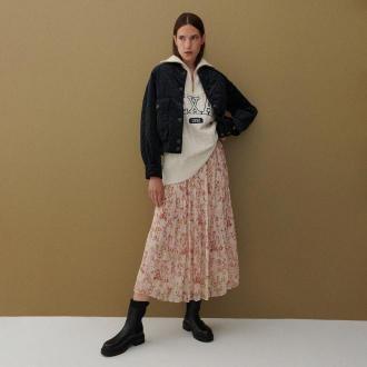 Reserved - Spódnica z plisowanej tkaniny - Różowy
