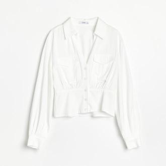 Reserved - Gładka koszula z kieszeniami - Kremowy