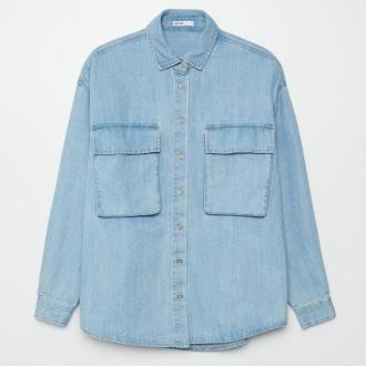 Cropp - Jeansowa koszula - Niebieski