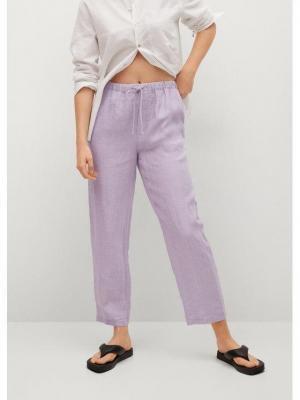 Mango Spodnie materiałowe Linen 87047878 Fioletowy Regular Fit