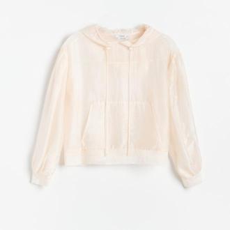 Reserved - Zwiewna bluzka z bufiastymi rękawami - Kremowy
