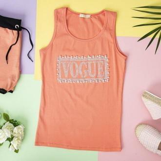 Różowy damski top z cyrkoniami - Odzież