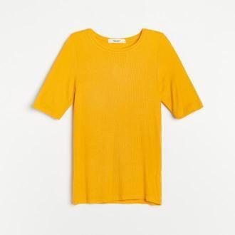 Reserved - PREMIUM Bluzka z prążkowanej dzianiny EcoVero™ - Pomarańczowy