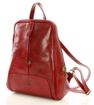 DARELLE Plecak skórzany włoski MAZZINI - skóra Capri czerwony