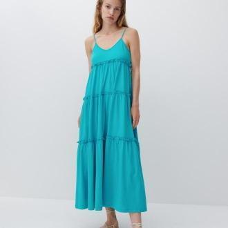 Reserved - Bawełniana sukienka maxi - Niebieski
