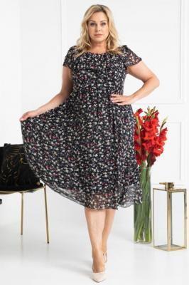 Sukienka zwiewna hiszpanka szyfonowa rozkloszowana MILANO gałązki z kwiatkami na czarnym tle