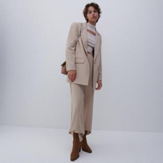 Reserved - Luźne spodnie - Beżowy