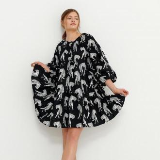 House - Sukienka z nadrukiem w tygrysy - Czarny