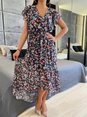 Czarna Asymetryczna Sukienka w Kwiaty 6082-108-A