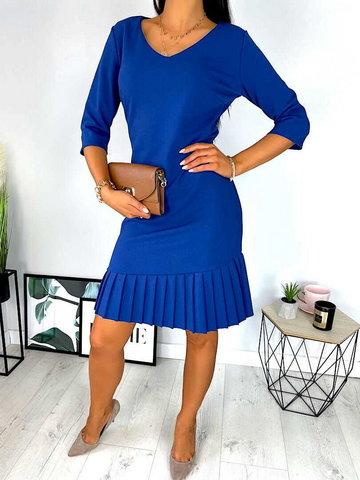 Kobaltowa Sukienka z Plisowaną Falbanką 6793-128-J