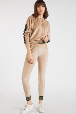 Welurowe legginsy z damskie