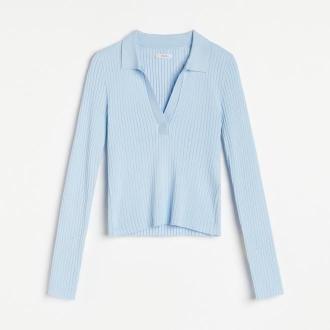 Reserved - Bluzka z kołnierzykiem - Niebieski