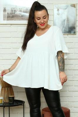 Bluzka swobodna elegancka z falbanką MATARA biała