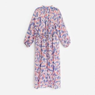 Reserved - Szyfonowa sukienka z metalizowaną nitką - Wielobarwny