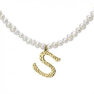 Naszyjnik z literką S z perłami, pozłacany