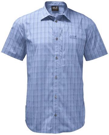 Jack Wolfskin Rays Stretch Vent Bluzka z krótkim rękawem Mężczyźni, niebieski S 2021 Koszule Button Down z krókim rękawem
