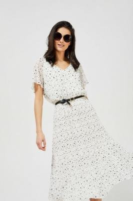 Plisowana sukienka ecru w groszki