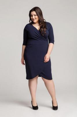 MONIQUE NAVY taliowana sukienka plus size : Rozmiar - 60/62
